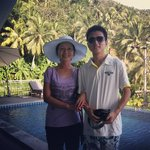 Fu and Cong on honeymoon at Villareal heights by pool