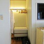 The tiny walk-in closet