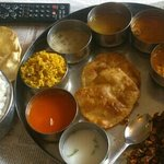 very tasty south Indian thali served at hotel room