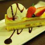 mango cake topped with vanilla