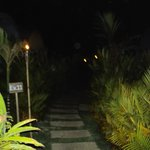 Path to the Explorer rooms at night