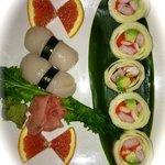 Sushi roll and scallop nigiri