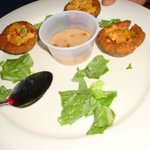 Mash plantain stuffed with shrimp