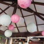 Pretty paper lanterns in the bar area