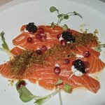 First course salmon trout and caviar