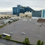 View of the parking lots and mechanical units for the MGM