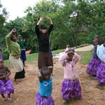 dancing with children and Nkuringo