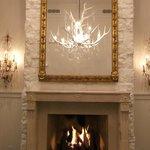 fantastic mirror above roaring fire