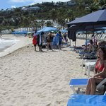The section of Dawn Beach that Oyster Bay Resort guests utilize (free lounge chairs provided).