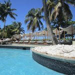hotel pool and cabanas