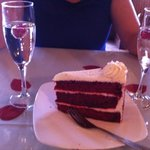 valentines day complimentary champagne and red velvet cake