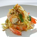 Green Mango Salad with King Prawns, Chilli, Dried Anchovies and Deep Fried Garlic.