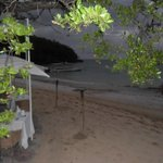 private area on the beach in the evening