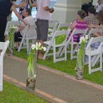 Gazebo seating and flowers