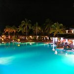 Beautiful pool area at night