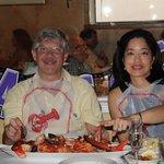 Enjoying the Lobster Fra Diavolo for two!  Bene!
