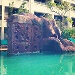 bouldering wall at the pool!