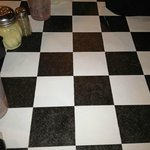 Checkerboard table cloths at Piccolino
