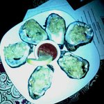 Fried oysters on the half-shell