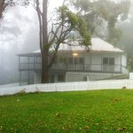 Our cottage wrapped in fog