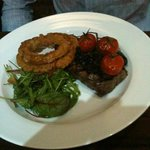 Sirloin with Mega Onion Rings