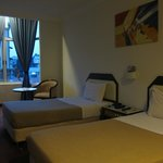 our room at 1st floor, 2 single beds