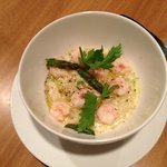 Creamy Risotto with Maine Shrimp and Grilled Asparagus