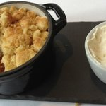 Caramelised apple and blackberry crumble with Chantilly cream