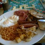 'Moon Breakfast' does usually come with tomatoes and black pudding. Excellent