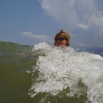 Kathy in the St. George Island surf