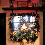 Pub window at Christmas
