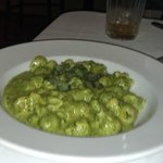 "Fazzoletti ""little handkerchief"" fresh pasta in a pesto sauce"