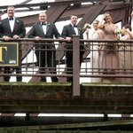 Wedding Party on Kinzie St. Bridge as we sailed under