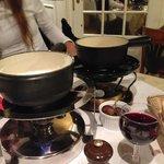 goat cheese fondue and classic cheese fondue