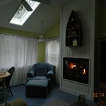 Fireplace. Skylights gave lots of natural light.
