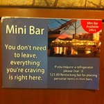 Note the fee imposed if you place your own things in mini-bar