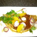 Panko chicken and waffles.. great combo of sweet & a little spicy