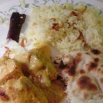 rice, butter chicken and naan take out