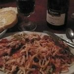 Chicken, peppersm onions and homestyle pasta.