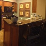Panoramic of dining room, kitchen, living room