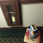 trash in the hallway.