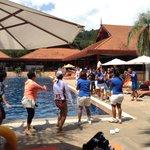 noon time dancing beside the pool