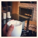 Chillin' in the lobby w/ an extra dry double cappucino