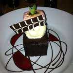 chocolate brownie with vanilla ice cream and beetroot marshmallow