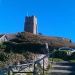 Wembury Church from steps outside beach cafe.
