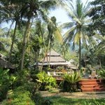 nestled  in lush tropical garden next to a pebbly beach