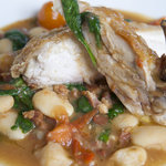 Chicken, spinach, tomatoes and butterbeans - yum!