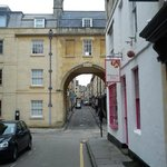 Harington's is through the arch, where the car is parked.