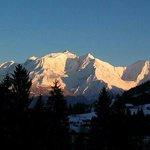 La vue sur le Mont Blanc depuis le balcon de la chambre 116.