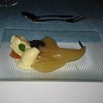 poached pear & ice cream